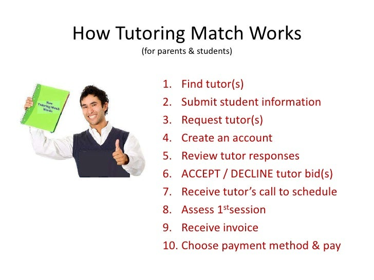 How Tutoring Match Works       (for parents & students)            1. Find tutor(s)            2. Submit student informati...