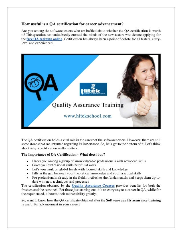 How Useful Is A Qa Certification For Career Advancement