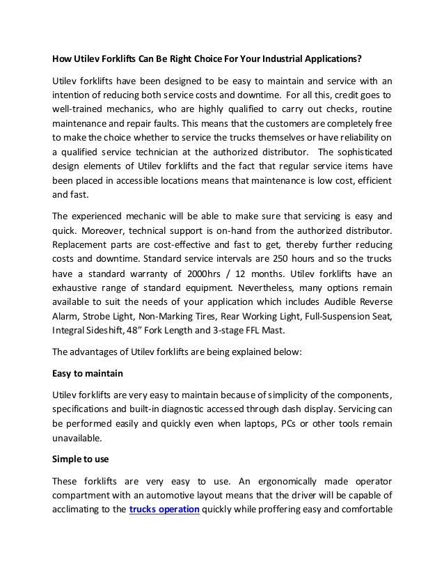 Utilev Forklifts for your industry