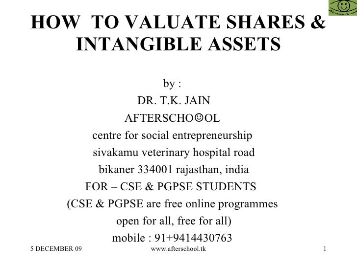 HOW  TO VALUATE SHARES & INTANGIBLE ASSETS by :  DR. T.K. JAIN AFTERSCHO ☺ OL  centre for social entrepreneurship  sivakam...