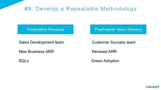 #9: Develop a Repeatable Methodology Predictable Revenue Predictable Value Delivery Sales Development team Customer Succes...