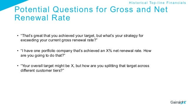 """Potential Questions for Gross and Net Renewal Rate • """"That's great that you achieved your target, but what's your strateg..."""
