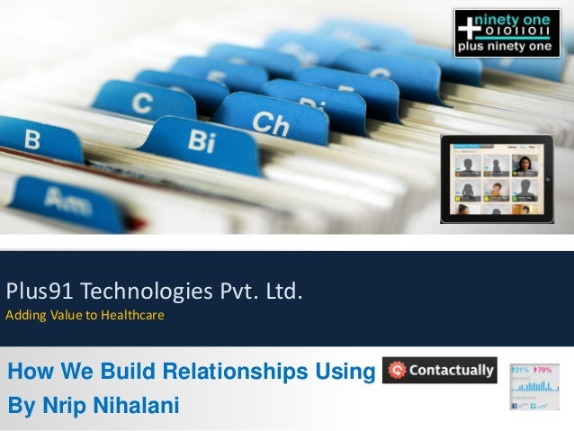How We Build Relationships Using By Nrip Nihalani Plus91 Technologies Pvt. Ltd. Adding Value to Healthcare