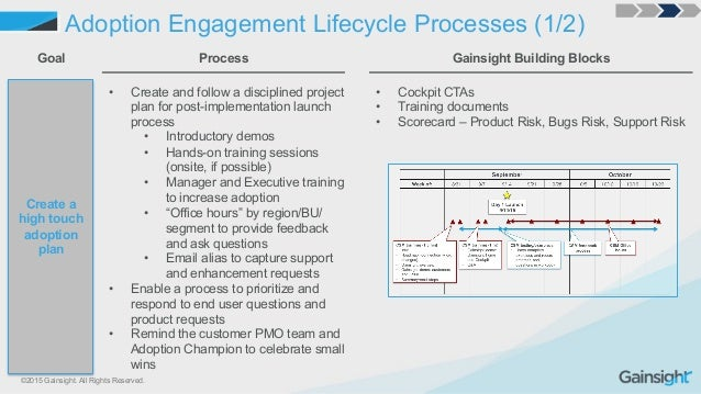 ©2015 Gainsight. All Rights Reserved. Adoption Engagement Lifecycle Processes (1/2) Create a high touch adoption plan Goal...