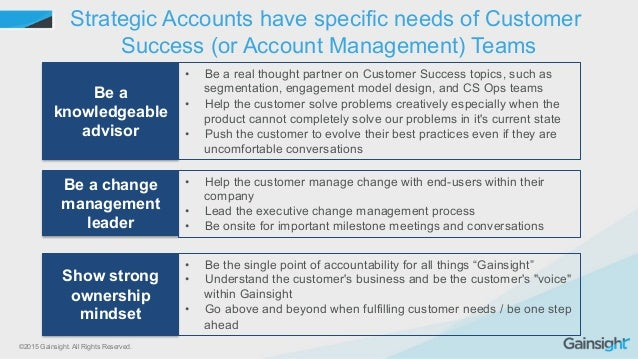 ©2015 Gainsight. All Rights Reserved. Strategic Accounts have specific needs of Customer Success (or Account Management) T...