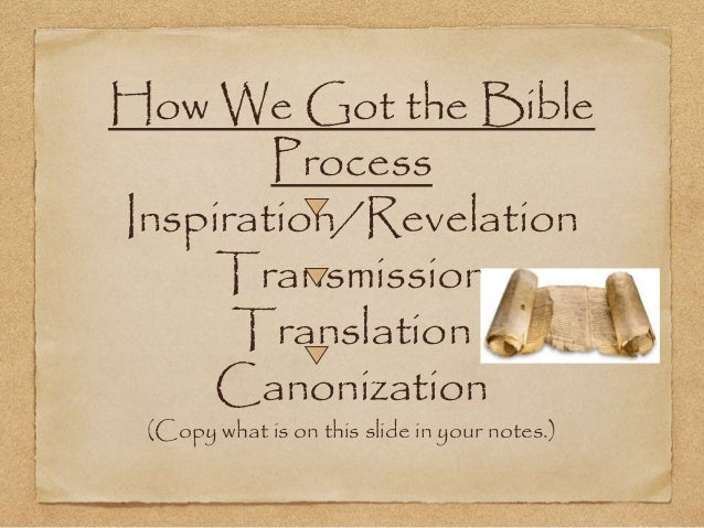 How We Got the Bible Process Inspiration/Revelation Transmission Translation Canonization (Copy what is on this slide in y...