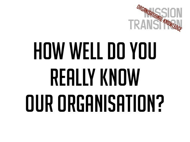 How well do you really know our organisation?