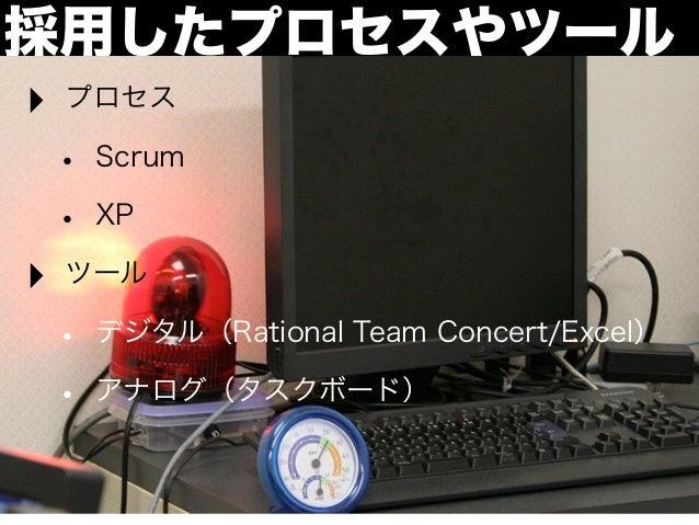 採用したプロセスやツール‣   プロセス    •   Scrum    •   XP‣   ツール    •   デジタル(Rational Team Concert/Excel)    •   アナログ(タスクボード)