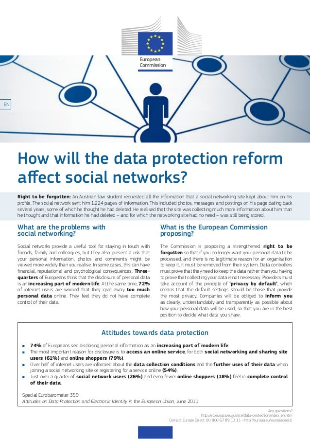 EN  How will the data protection reform affect social networks? Right to be forgotten: An Austrian law student requested a...