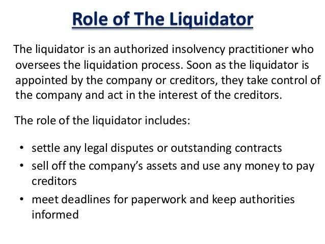 duties of liquidator winding up