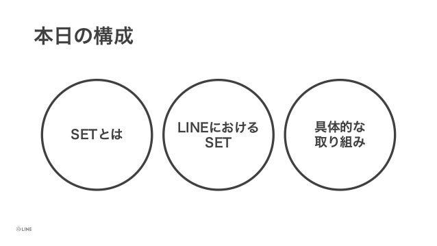 本日の構成 SETとは LINEにおける SET 具体的な 取り組み