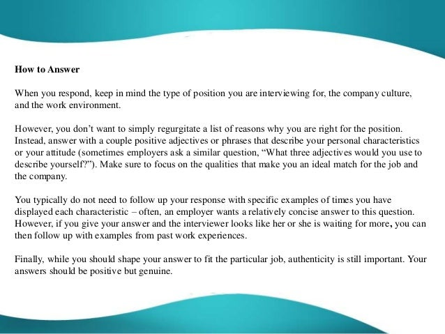 Perfect How To Describe Yourself In An Interview. How Would You Describe Yourself  Interview Question ...