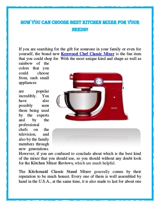 How you can choose best kitchen mixer for your needs