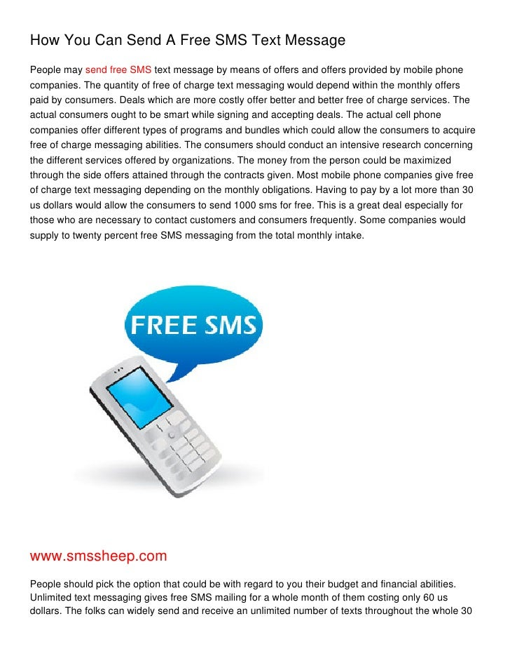How You Can Send A Free SMS Text Message