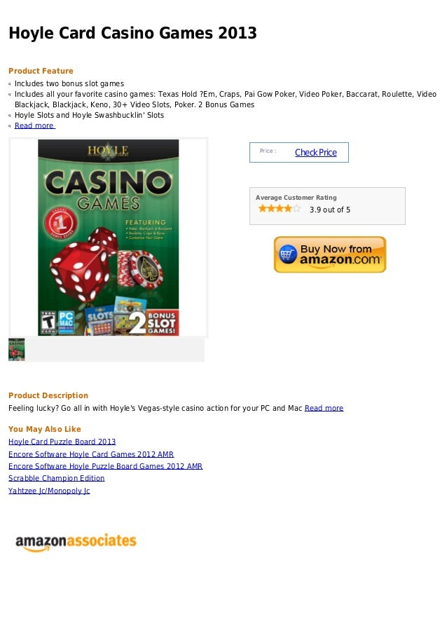Hoyle Card Casino Games 2013Product Featureq   Includes two bonus slot gamesq   Includes all your favorite casino games: T...