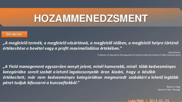 Hozammenedzsment Yield Revenue Management