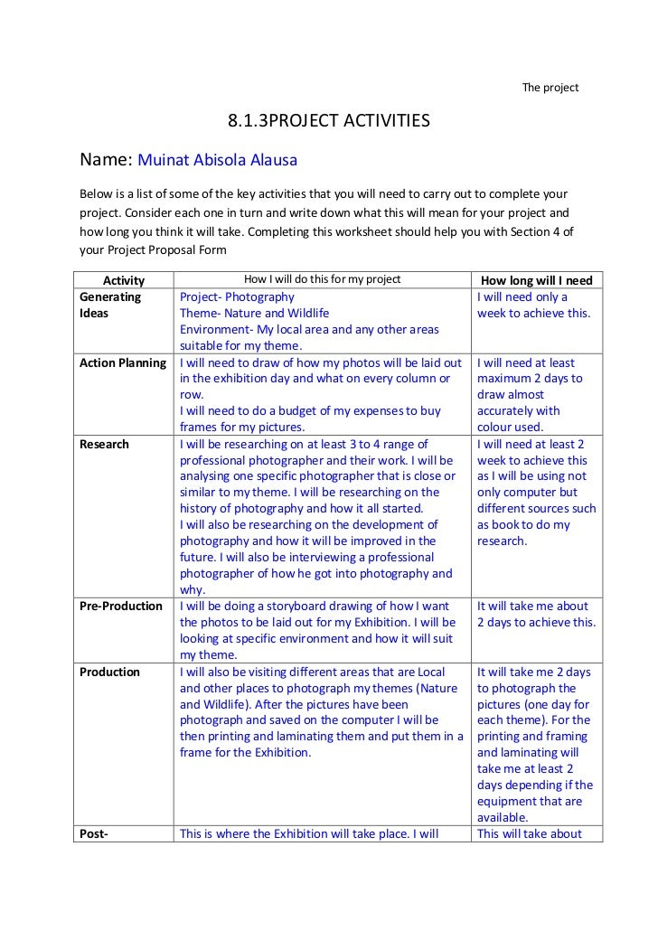The project<br />8.1.3 PROJECT ACTIVITIES<br />Name: Muinat Abisola Alausa<br />Below is a list of some of the key activit...