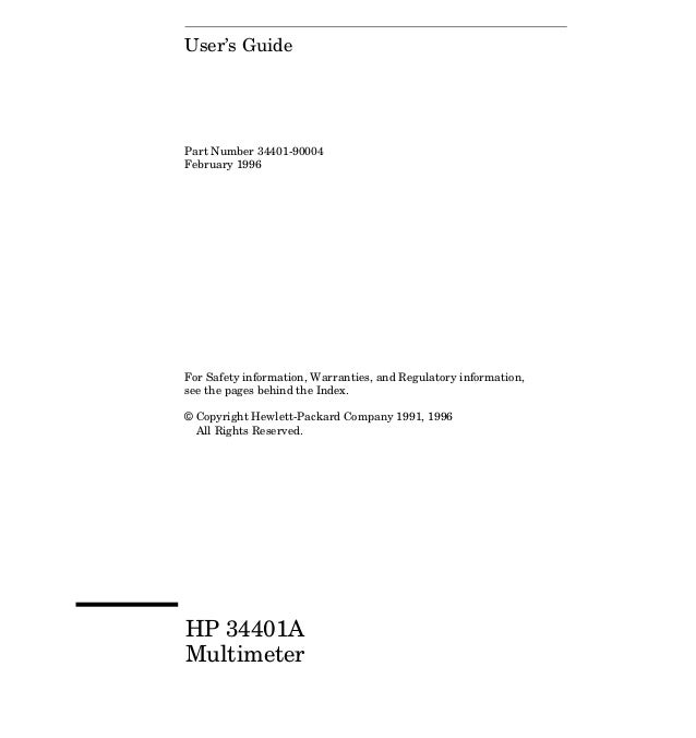 User's GuidePart Number 34401-90004February 1996For Safety information, Warranties, and Regulatory information,see the pag...