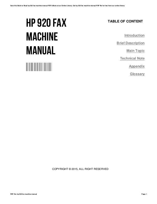 Hp 920-fax-machine-manual