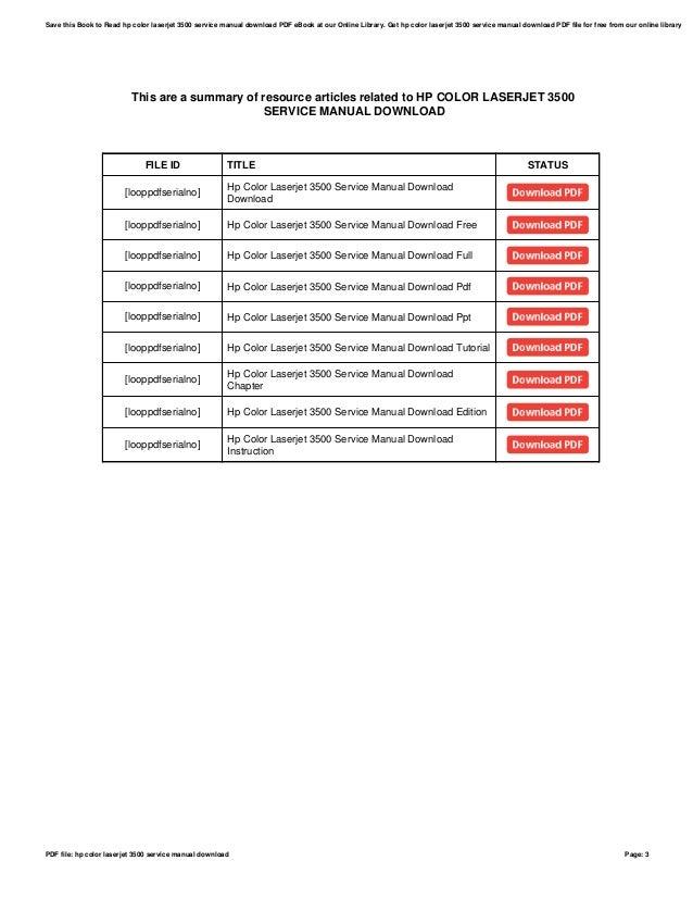 hp color laserjet 3500 service manual download rh slideshare net hp color laserjet 3600 service manual HP Color LaserJet 3500 Troubleshooting