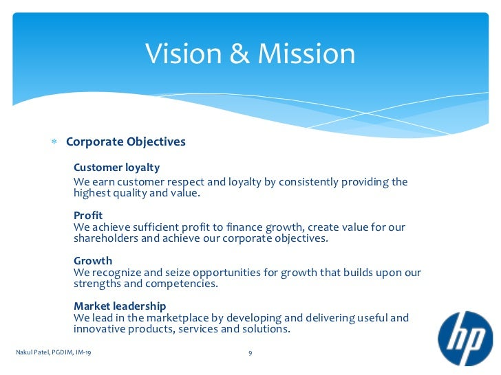 Hp company overview for Vision industries group