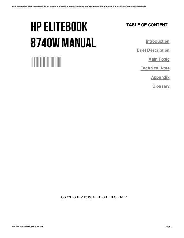 hp elitebook 8740w manual rh slideshare net