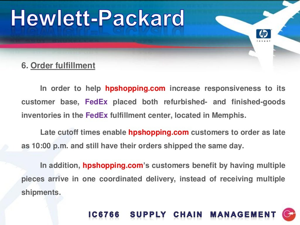 Hp logistics and supply chain management