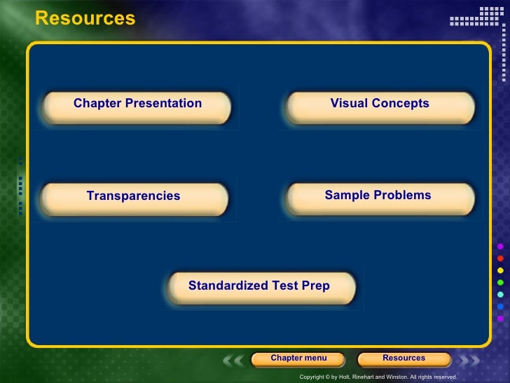 Chapter Presentation Transparencies Standardized Test Prep Sample Problems Visual Concepts Resources