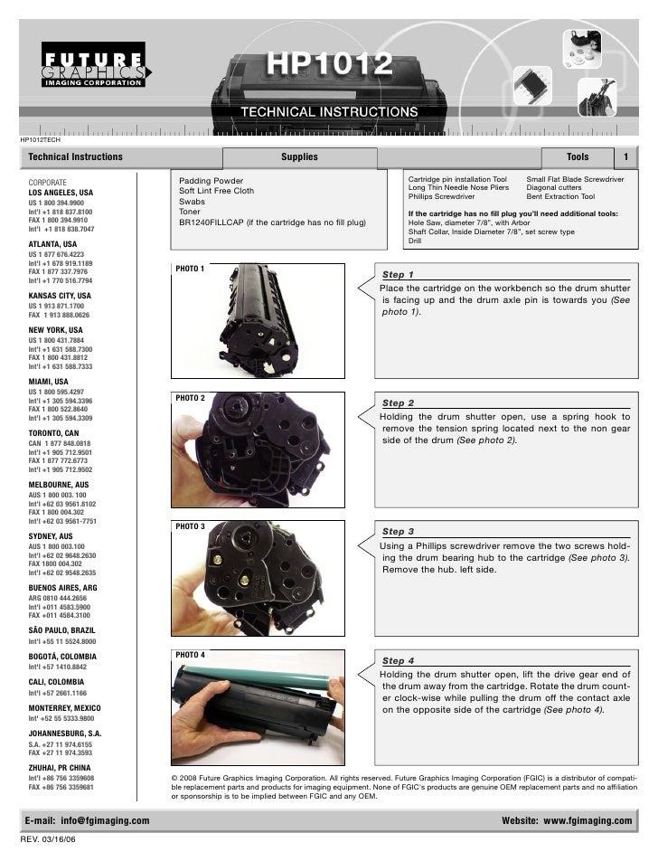HP1012TECH    Technical Instructions                                      Supplies                                        ...