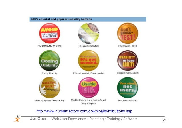 -26-UserXper Web User Experience – Planning / Training / Software http://www.humanfactors.com/downloads/hfibuttons.asp