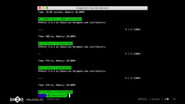 www.in2it.be - @in2itvof PHPUnit + Docker = 🚗💨 18