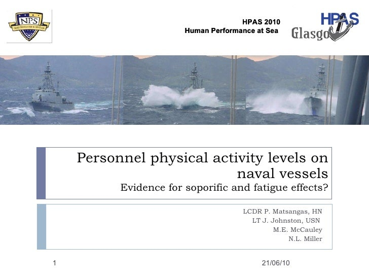 Personnel physical activity levels on naval vessels Evidence for soporific and fatigue effects? LCDR P. Matsangas, HN LT J...
