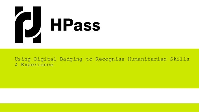 Using Digital Badging to Recognise Humanitarian Skills & Experience
