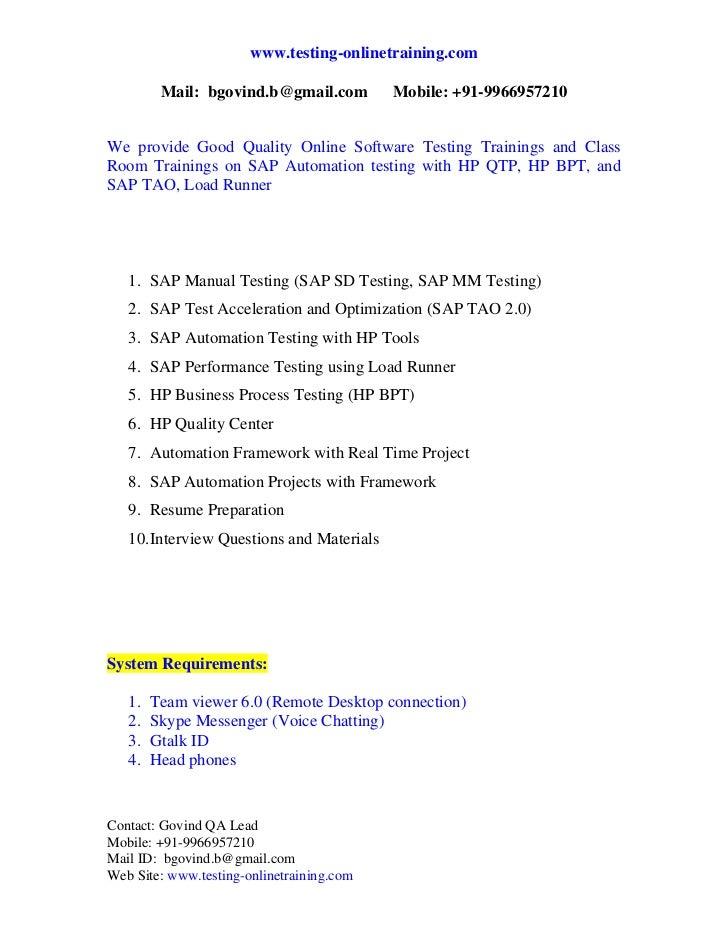 www.testing-onlinetraining.com          Mail: bgovind.b@gmail.com         Mobile: +91-9966957210We provide Good Quality O...