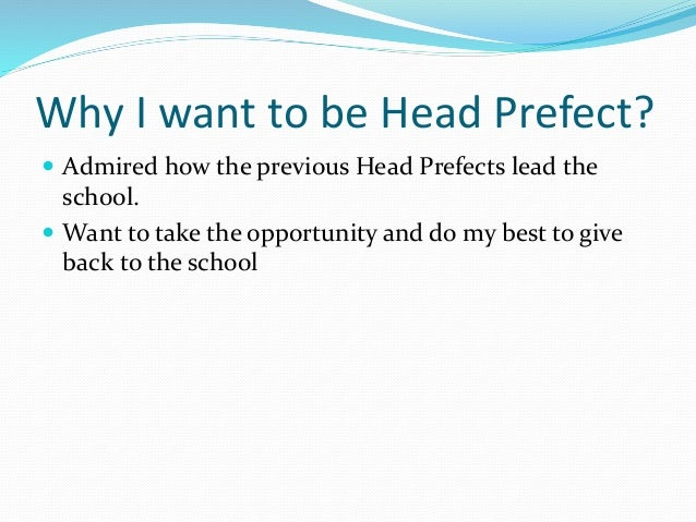 How to write a good head girl application