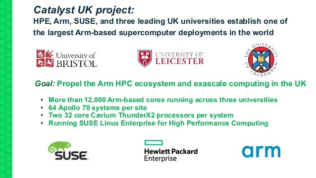 Goal: Propel the Arm HPC ecosystem and exascale computing in the UK • More than 12,000 Arm-based cores running across thre...