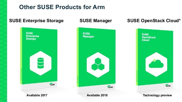 Other SUSE Products for Arm * Technology Demonstration SUSE OpenStack Cloud*SUSE Enterprise Storage SUSE Manager Available...