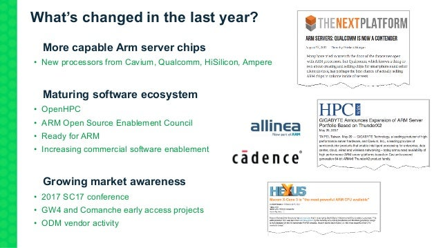What's changed in the last year? 1.More capable Arm server chips • New processors from Cavium, Qualcomm, HiSilicon, Ampere...