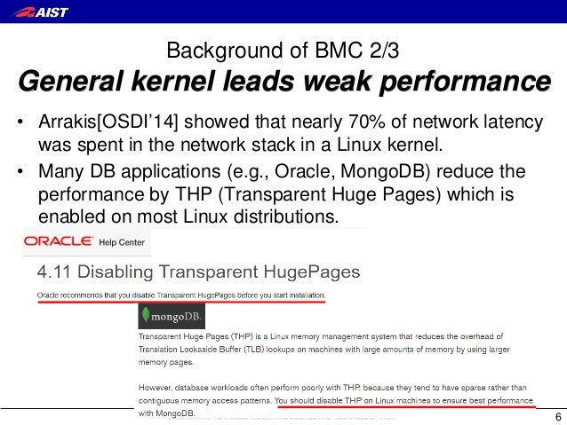 Background of BMC 2/3 General kernel leads weak performance • Arrakis[OSDI'14] showed that nearly 70% of network latency w...