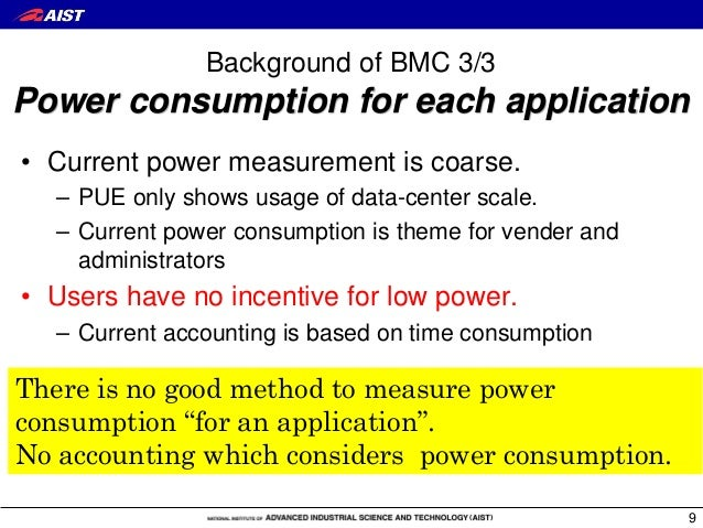 Background of BMC 3/3 Power consumption for each application • Current power measurement is coarse. – PUE only shows usage...