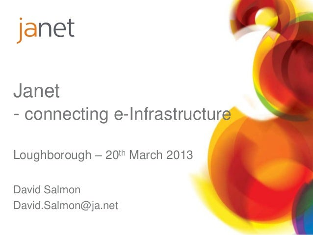 Janet- connecting e-InfrastructureLoughborough – 20th March 2013David SalmonDavid.Salmon@ja.net