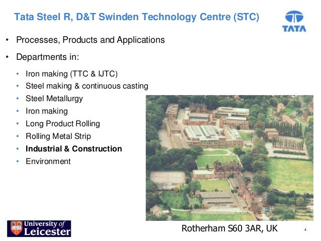 Tata Steel R, D&T Swinden Technology Centre (STC)• Processes, Products and Applications• Departments in:  • Iron making (T...