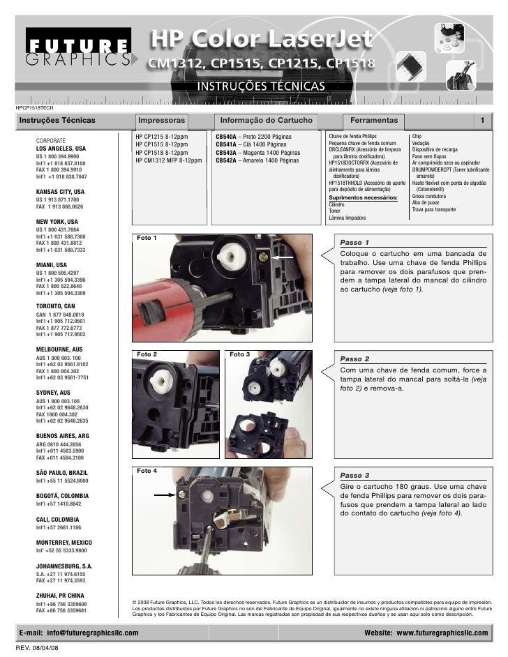 HPCP1518TECH   Instruções Técnicas               Impressoras                          Informação do Cartucho              ...