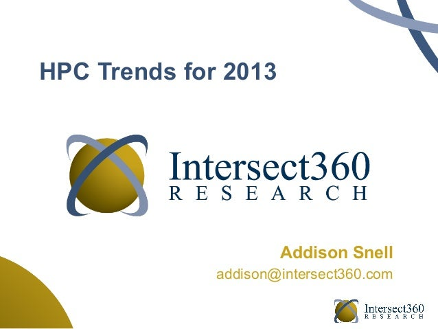 HPC Trends for 2013                      Addison Snell              addison@intersect360.com