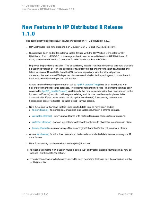 Hp distributed R User Guide