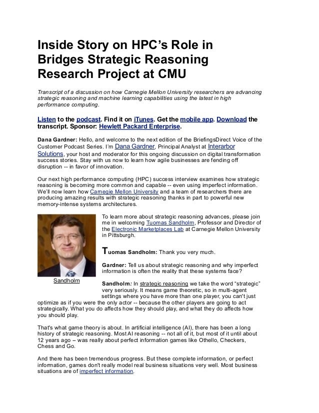 Inside Story on HPC's Role in Bridges Strategic Reasoning Research Project at CMU Transcript of a discussion on how Carneg...