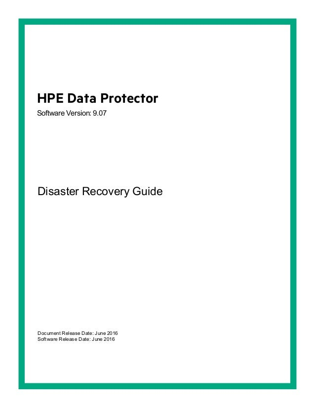 Hpe Data Protector Disaster Recovery Guide