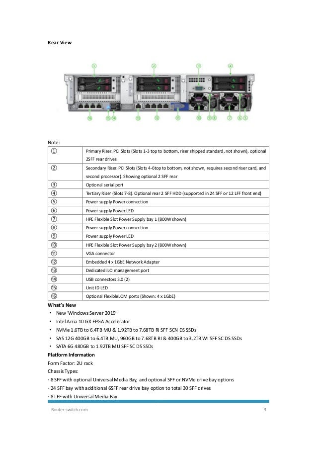 HPE ProLiant DL380 Gen10 Server Data Sheet