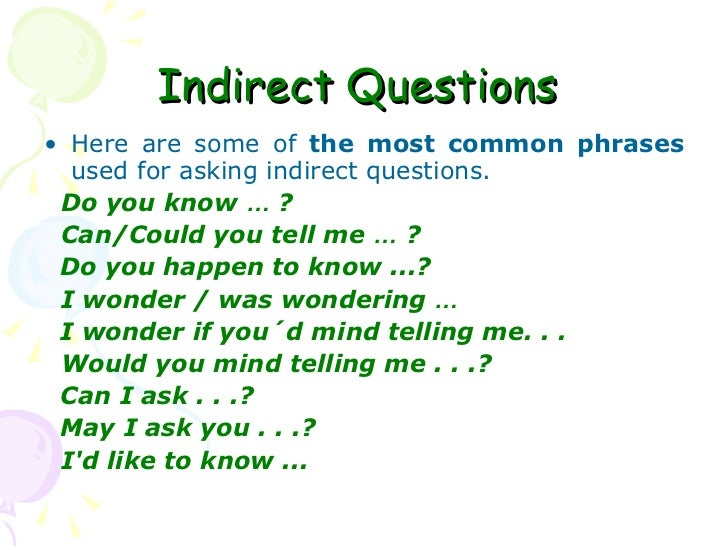 Indirect Questions For Politeness