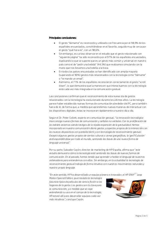 """Página 2 de 5 Principales conclusiones:  El gesto """"llámame"""" es reconocido y utilizado con frecuencia por el 98,9% de los ..."""